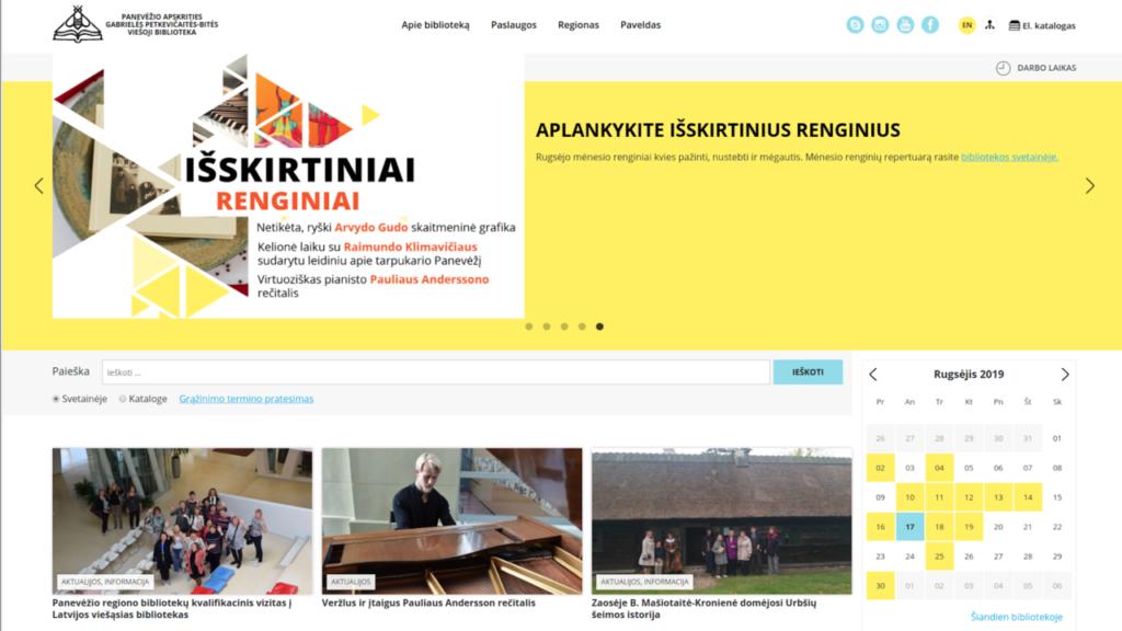 Panevėžio apskrities Gabrielės Petkevičaitės-Bitės viešosios bibliotekos svetainės vaizdas