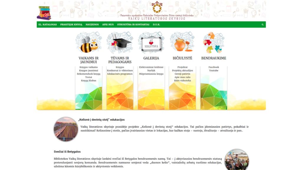 Panevėžio apskrities Gabrielės Petkevičaitės-Bitės viešosios bibliotekos Vaikų literatūros skyriaus svetainės vaizdas